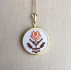 Cross Stitch Tulip Necklace Daisy Jewelry от TheMarshWrenShop