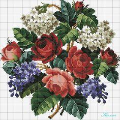 ROSE E LILLA' (SCHEMA PAG 1) Cross Stitch Rose, Cross Stitch Flowers, Cross Stitch Charts, Cross Stitch Patterns, Needlepoint Stitches, Needlework, Rose Embroidery, Embroidery Patterns Free, Cross Stitch Embroidery