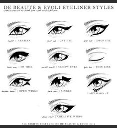 Eyeliner Styles... Arabian, Cat Eye, Drop Eye, Thick, Sleepy Eye, Thin, Open Wing, Single, Lady Gaga, Creative