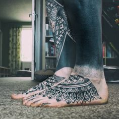 Inked Legs and Some Pattern Tattoos on Feet