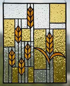Prairie Wheat Stained Glass Panel by LittleGuppyGlasswork on Etsy
