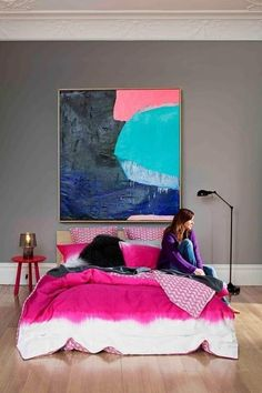 Glitter and Goat Cheese - Bedroom with giant abstract art - via Arianna Belle