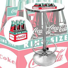 <li>Coca Cola Vintage Officially Licensed Pub Table will be the highlight of your bar or gameroom</li> <li>Table makes a great gift for recreational decor</li><li>Collectable furniture is trimmed with chrome-plated banding</li>