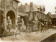 Faculty, students and children ride on bicycles at Faculty Row (A Deaf Cycling Club of the 1880′s) at Gallaudet University in Washington D.C.