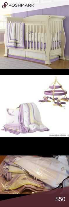 Baby Gap Dragonfly Crib Set and Mobile Pre-loved in EUC Lilac with yellow and white beautiful crib set with the matching mobile.  Crib set contains quilt, fitted sheet, crib skirt, and bumper.  Mobile has all hardware to attach to crib Baby Gap Other