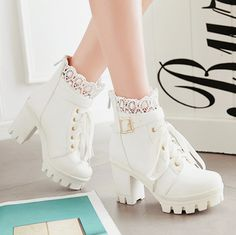 "kaonoshi: """" Lace Buckle Tie Up Zipper Back Ankle Boots "" """