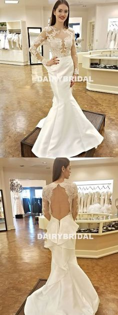 Long Sleeve Open-Back Lace Wedding Dress, Charming Mermaid Satin Wedding Dress, D1049 #weddingdresses #wedding