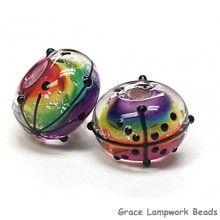 Grace Lampwork Beads // 11008201 - Seven Rainbow Balloons Rondelle Beads