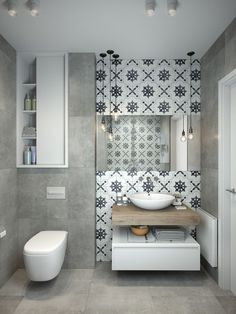 Bad, modern, Beton, Zementfliesen, Zementoptik, Kombination modern und Klassish, klassische Muster, gemusterte Wandfliese, Akzentwand hinter Waschbecken