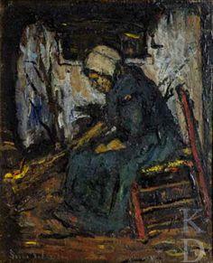 Suze Robertson Boerenvrouw bij open vuur 1870-1922 Heeze Christie's (Amsterdam), 385 #NoordBrabant #Kempen