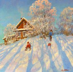 Dmitry Levin - paintings and prints for sale of artist Landscape Art, Landscape Paintings, Painting Snow, Winter Painting, Watercolor Beginner, Farm Art, Winter Images, Christmas Paintings, Paisajes