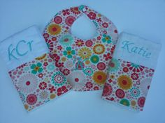 Sweet Baby Girl Burp Cloth Set with Matching by jennypennydesigns, $26.99
