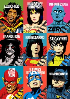 Famous guitar legends illustrated as comic book heroes by Butcher Billy. Brazilian illustrator Butcher Billy is inspired by all things pop culture. Vintage Comic Books, Vintage Comics, Comic Books Art, Comic Art, Rock Posters, Band Posters, Concert Posters, Illustrations, Illustration Art
