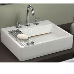 Lavamano rectangular con accesorio moderno para colocar jabón