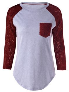 $10.39 for Plus Size Single Pocket Lace Patchwork T-Shirt in Wine Red | Sammydress.com