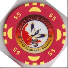 This chip is from the Great Blue Heron Casino at Scugog Island.  This casino is near Port Perry, Ontario, Canada.