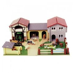 <p> 	This classic painted wooden farmyard includes a large barn with a hay loft, a milking parlour, a stable, and a pig sty.  The farmyard is mounted on a detailed, decorated baseboard and complete with moveable fences.</p> <p> 	The set is scaled to Budkins animals and characters, but is compable with any other animals of similar size.  Figurines are sold seperately.</p>