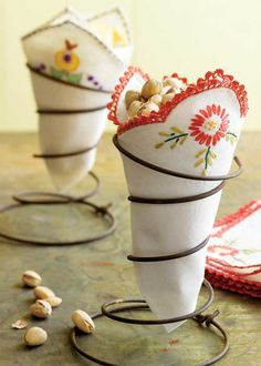 Use an old bedspring (tag sales and antiquing) with a pretty napkin, and snacks!
