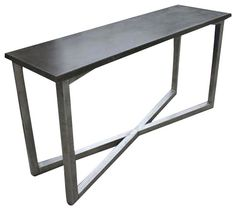 Concrete top on a stainless steel base.