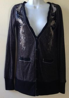Miss Me Black Gray Rhinestones Sequins Button Up Cardigan Sweater Top Size Small