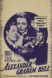 The Story of Alexander Graham Bell is a somewhat fictionalized 1939 biographical film of the famous inventor. It was filmed in black-and-white and released by Twentieth Century-Fox. The film stars Don Ameche as Bell and Loretta Young as Mabel, his wife, who contracted scarlet fever at an early age and became deaf. The first half of the film concentrates on the hero's romantic, financial, and scientific struggles, starting in 1873. Most scenes are set in Boston and vicinity.