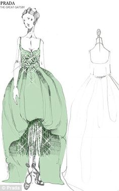 Prada releases Gatsby designs : A cocktail dress festooned with large golden sequins and a pretty crystal laden mint green gown