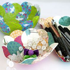 DIY bowls in papier mache and pieces of patterned paper.