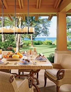 Hawaiian Decor, Aloha Style Tropical Home Decorating Ideas Outdoor Rooms, Outdoor Dining, Indoor Outdoor, Outdoor Decor, Outdoor Centre, Outdoor Kitchens, Outdoor Lighting, Hawaiian Homes, Hawaiian Decor