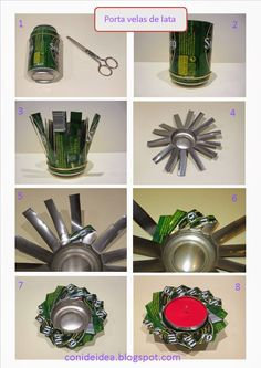 Manualidades fáciles Upcycled Crafts, Diy Home Crafts, Recycled Art, Diy Arts And Crafts, Diy Crafts To Sell, Easy Crafts, Soda Can Flowers, Tin Flowers, Tin Can Art