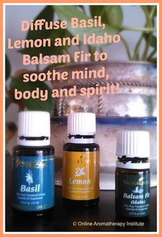 Diffuse Basil, Lemon and Idaho Balsam Fir to soothe mind, body and spirit!