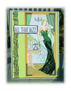 Morning crafting friends , bit colder today and so dull , least my card has a bit of sparkle though . I've used Tattered Lace Art Deco . Art Deco Cards, Tattered Lace Cards, Lace Art, Dress Card, Art Deco Pattern, 1920s Art Deco, Green Glitter, Vintage Greeting Cards, Art Deco Design