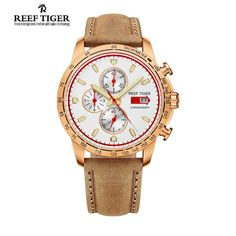 Reef Tiger/RT Sport Watch for Men Chronograph Quartz Watches with Date Rose Gold Watch with Luminous  Markers RGA3029