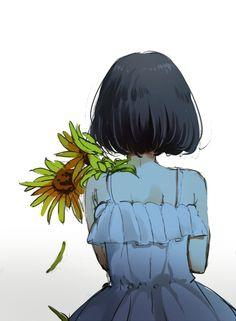 Short hair, back view, anime, girl, and art image Art Anime, Anime Art Girl, Manga Anime, Anime Girl Cute, Kawaii Anime Girl, Manga Drawing, Manga Art, Illustrations, Illustration Art