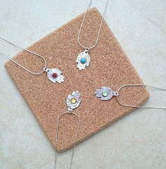 Sterling silver Small Hamsa Pendant semi precious by AyalaBinor
