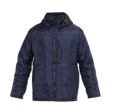 Checked Parasut Basic Jacket by Urban Connexion. made from parachute fabric with a combination of square details and detachable hoodie, long sleeve, sides pocket, navy blue color, stay warm with this cool parachute jacket. http://www.zocko.com/z/JEgl4