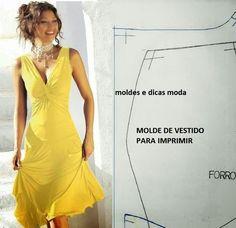 MOLDE DE VESTIDO ENTRELAÇADO Molde de vestido para imprimir grátis. Elegante, eterno e discreto. De cores lisas ou estampadas é um vestido que se adapta ao