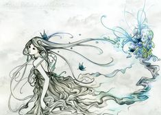 Beautiful Traditional Detailed Art {drawing} // Running away from blue by Hellobaby