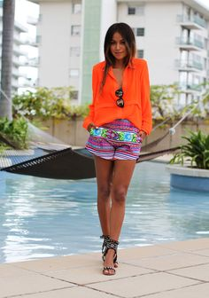 Tangerine, purple and turquoise Short Jeans, All About Fashion, Passion For Fashion, Only Fashion, Womens Fashion, Fashion 2014, Trendy Fashion, Vogue, Looks Street Style