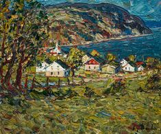 Raynald Leclerc, artist, original paintings at White Rock Gallery Charlevoix, Palette Knife Painting, City Art, Saint, Original Paintings, Colours, Rock, Landscape, The Originals