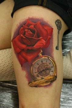 It was as if time stood still and her beauty prevailed.  (artist John Anderton) #pocketwatch #rose #tattoo