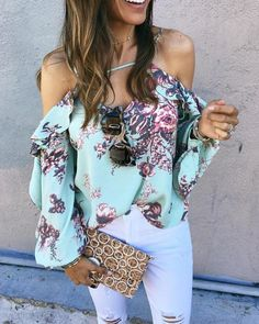 Shop Floral Ruffles Cold Shoulder Bishop Sleeve Blouse right now, get great deals at Divasruby Trendy Outfits, Summer Outfits, Blouse Models, Bishop Sleeve, Latest Dress, S Models, Pattern Fashion, Sleeve Styles, Outfit Of The Day