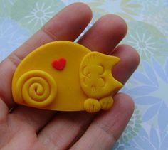 Polymer Clay Yellow Cat with Heart brooch pin or by Coloraudia, $10.00