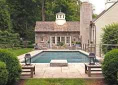 Love this! Especially the stone pool house with the cupola! Oh, and the cement clad chimney.