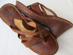 BORN women sandals wedge size 9 Brown Leather #Born #PlatformsWedges #Casual