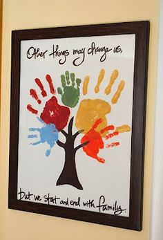 This is precious... would be so sweet to begin an art project with a baby's hand... right up to adulthood, maybe make it like a growth chart with age, etc... : )
