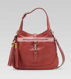 Gucci New Jackie Large Shoulder Bag Coral Leather 246907 AL90Z 6411