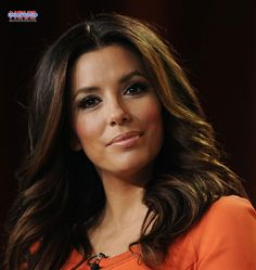 Eva Longoria Looking Sexy Orange Dress For Complete Profile and Bio Graphy Visit our Website