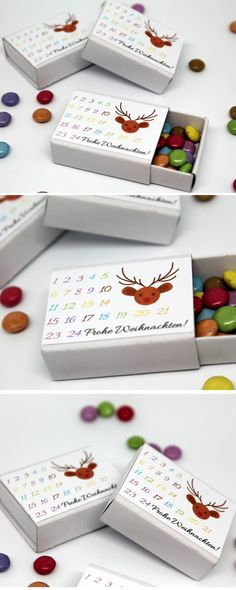 DIY DIY advent calendar non…matchbox template DIY matchstick advent calendar with smarties Instructions: DIY DIY DIY Freebie Free Printable free label Advent calendar Christmas calendar. Advent Calendar Gifts, Christmas Calendar, Christmas Time, Christmas Crafts, Christmas Decorations, Xmas, Quick Crafts, Diy And Crafts, Upcycled Crafts