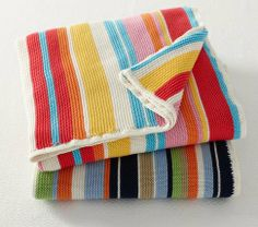 Stripe Knit Stroller Blanket