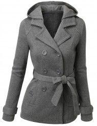 Doublju women's Fleece Hooded Coat Jacket (AWOCO018)